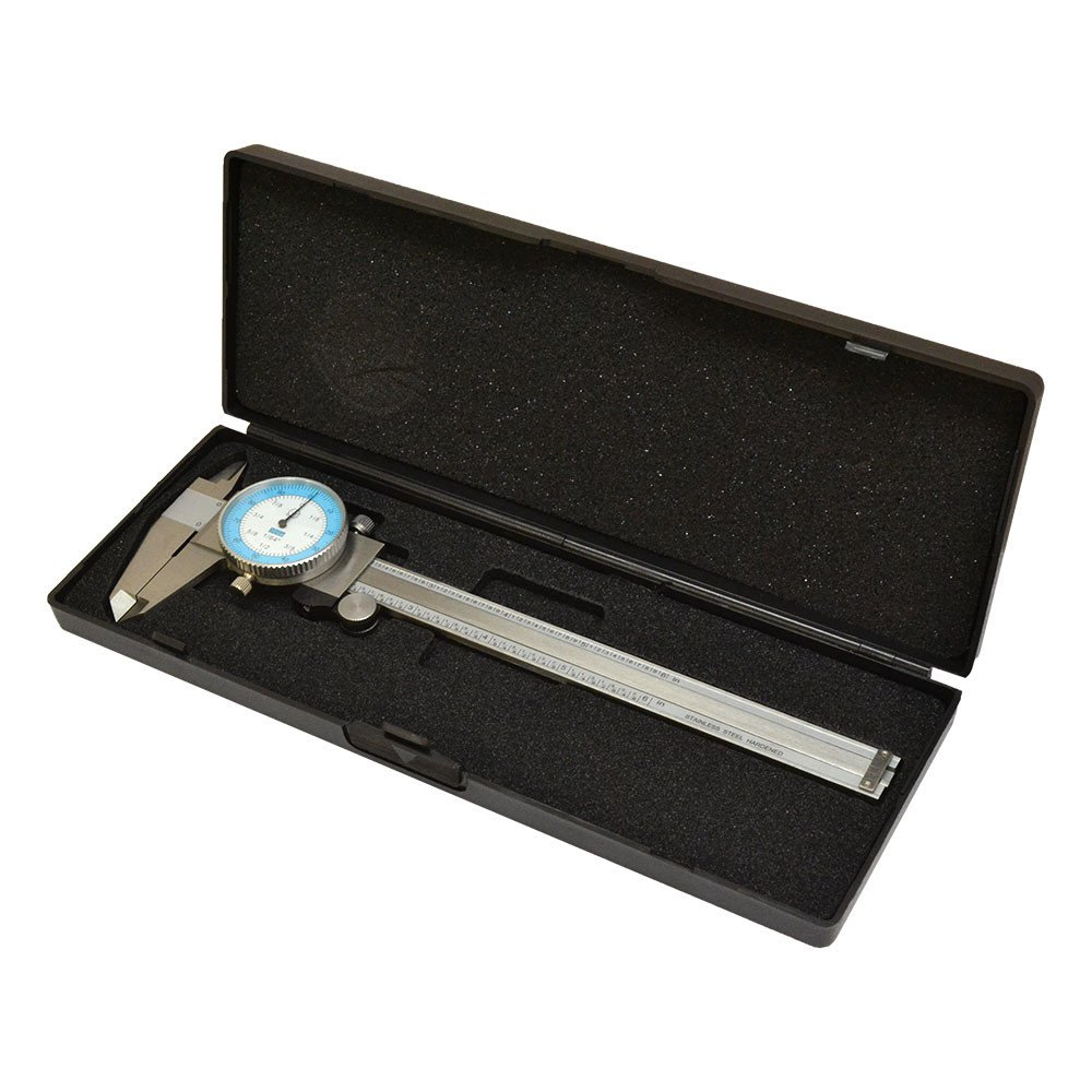 DBM IMPORTS 6'' Dial Caliper Gage Gauge Precision Measuring Tool Ruler Scale Read 0.01'' 64th Fractional Stainless Steel