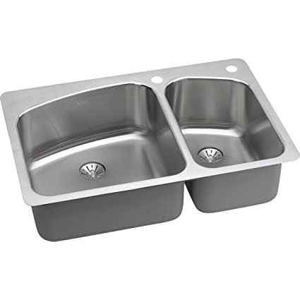 d8d22118d5 Elkay Lustertone LKHSR2509RPD2L 60/40 Double Bowl Dual Mount Stainless  Steel Sink with Perfect Drain - Double Bowl Sinks - Amazon.com