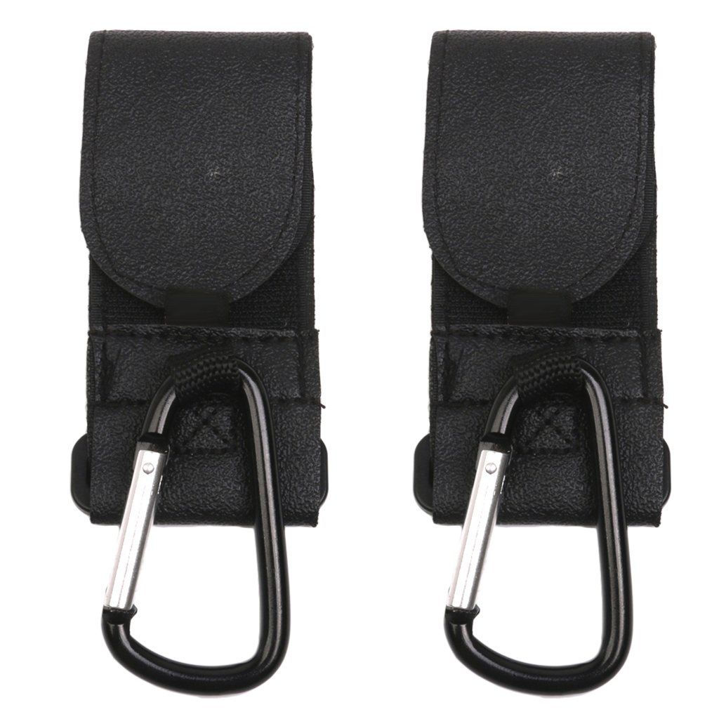 Buggy Pram Pushchair Stroller Metal Clip Hooks for Hanging 2pcs Black RICISUNG