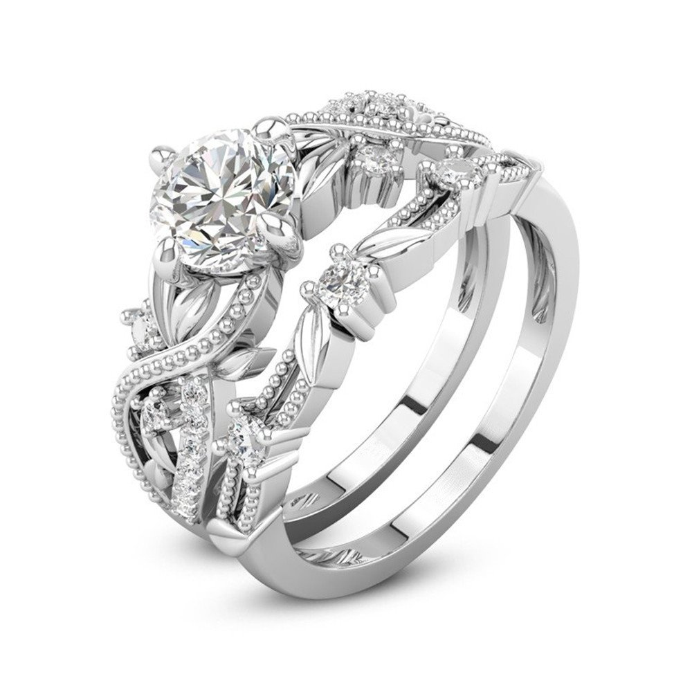 AMSKY Wedding Ring for Women,2-in-1 Fashion Lady Zirconia Ring Creative Set Ring Accessories Engagement Ring Matching Band Anniversary Ring (6)