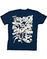 Marvel Comics Characters UV Collage Navy Youth T-shirt Tee