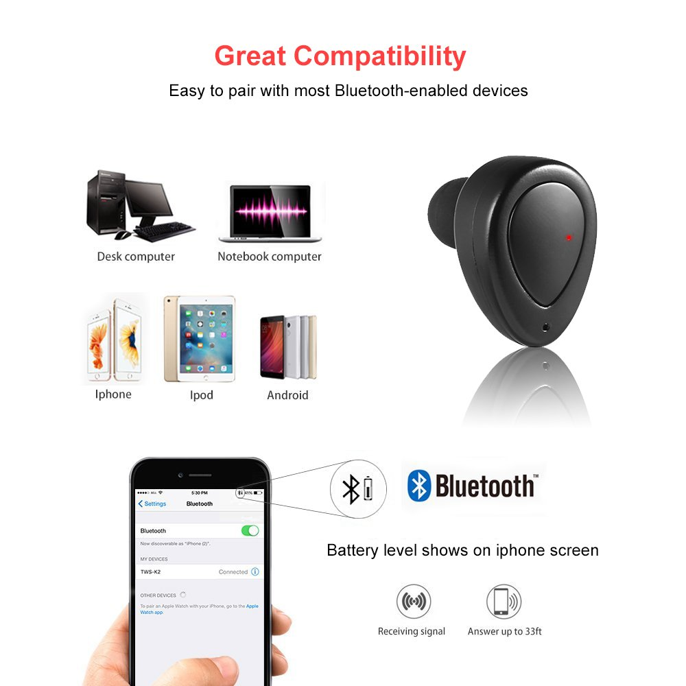 Mbuynow Mini Écouteur Bluetooth Sans Fil Oreillette Bluetooth 4.1 Stéréo Pour Sport Réduction du Bruit avec Microphone pour Apple iPhone iPad Android Samsung Ordinateur etc