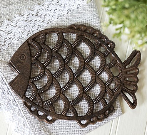 "Kitchen Trivets: ""Fish"" Decorative Cast Iron Trivet For Kitchen Or Dining"