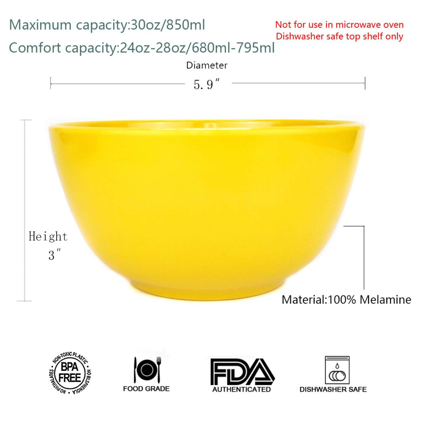 Shatter-Proof and Chip-Resistant Dishwasher Safe,BPA Free Melamine Bowls set 28oz 6inch 100/% Melamine Cereal//Soup//Salad Bowls,Set of 6 in 6 Assorted Colors