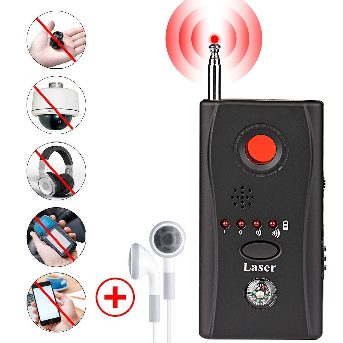 Bug Detector, RF Anti-Spy Wireless Detector,Hidden Camera Pinhole Laser Lens GSM Device Finder,Full-Range All-Round Portable Detector for Eavesdropping, ...