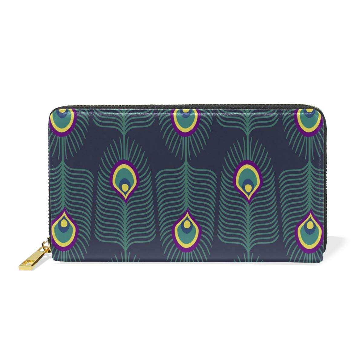 GIOVANIOR Peacock Feather Womens Clutch Purses Organizer And Handbags Zip Around Wallet