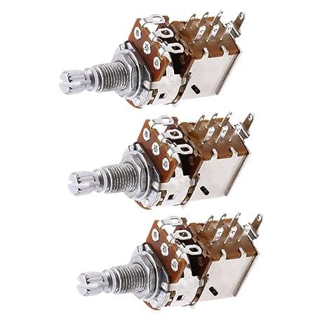 MagiDeal Potenciómetro de Control Interruptor de Empuje Bajo para Guitarra Eléctrica A500K 3 Pedazos