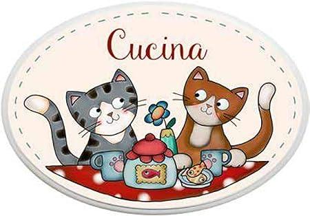 LAngolo delle Idee - Placa Ovalada para Cocina, diseño de Gatos y Animales: Amazon.es: Hogar