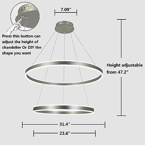AKEELIGHTING Modern Led Chandelier Lighting Ceiling Dining Room 2 Ring LED Light Fixtures Contemporary Pendant Light Adjust Height Nickel 32inch