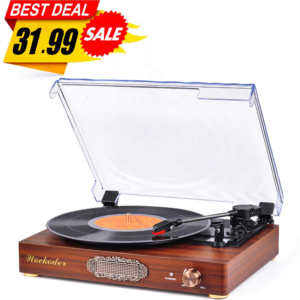 Wockoder Turntable Vinyl Record Player turntable vinyl records 3 Speed Turntable Player Classic turntable player 33/45/78rpm selectable speed plays 7'' 10'' & 12'' records Free Audio cable included