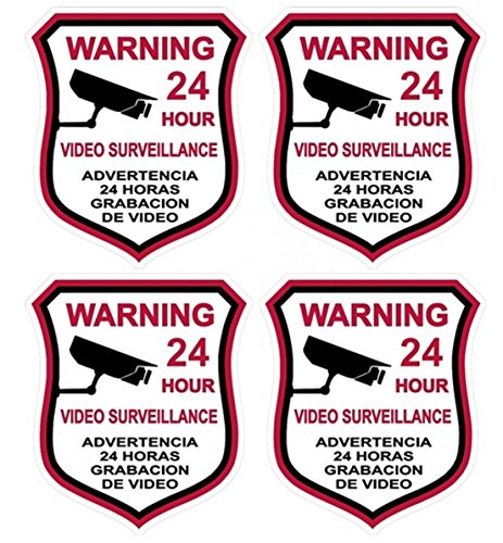 4 Pcs Crucial Popular Video Surveillance Sticker Signs Bumper Security Anti-Robber Premises Monitored Size 3.5