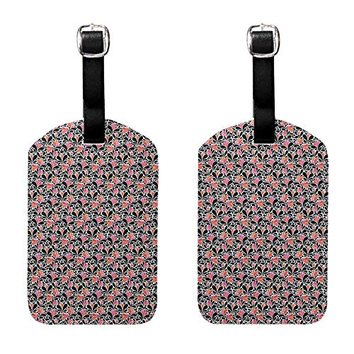 Travel ID Labels Abstract,Paisley Style Pattern of Water Splashes Ombre Motifs with Floral Influences, Coral Pink Black Leather Strap - Set of 2
