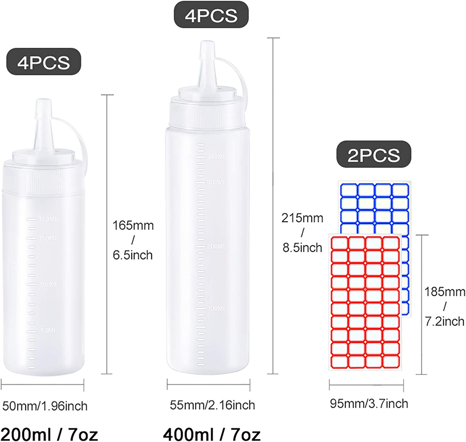 8 Pcs Plastic Squeeze Bottles with Cap Lids 200Ml and 400Ml, 4 Pieces of Each Condiment Bottle Dispenser Multi Purpose Squeeze Bottle for Ketchup Soy Sauce Salad Dressing