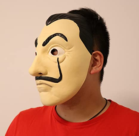 Amazon.com: Salvador Dali Face Mask - La Casa De Papel Mascara - Face Latex Mask Cosplay - Money Heist Mask - Realistic Mask: Clothing