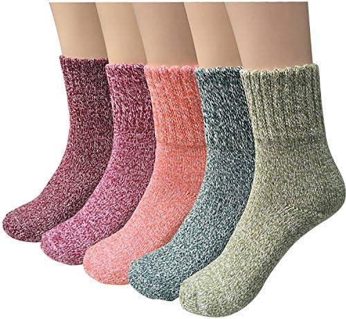 YSense 5 Pairs Womens Winter Warm Socks Thick Knit Wool Cozy Crew Socks Gifts