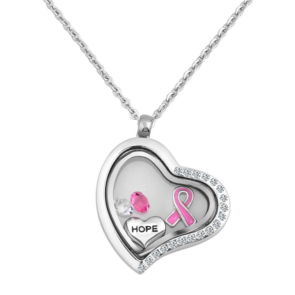 Q&Locket Hope Heart Love Pink Ribbon Breast Cancer Awareness Glass Floating Locket Necklace