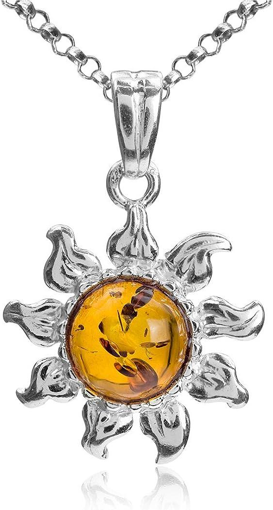 Noda colgante de plata de ley con ámbar Sol y cadena 46 cm