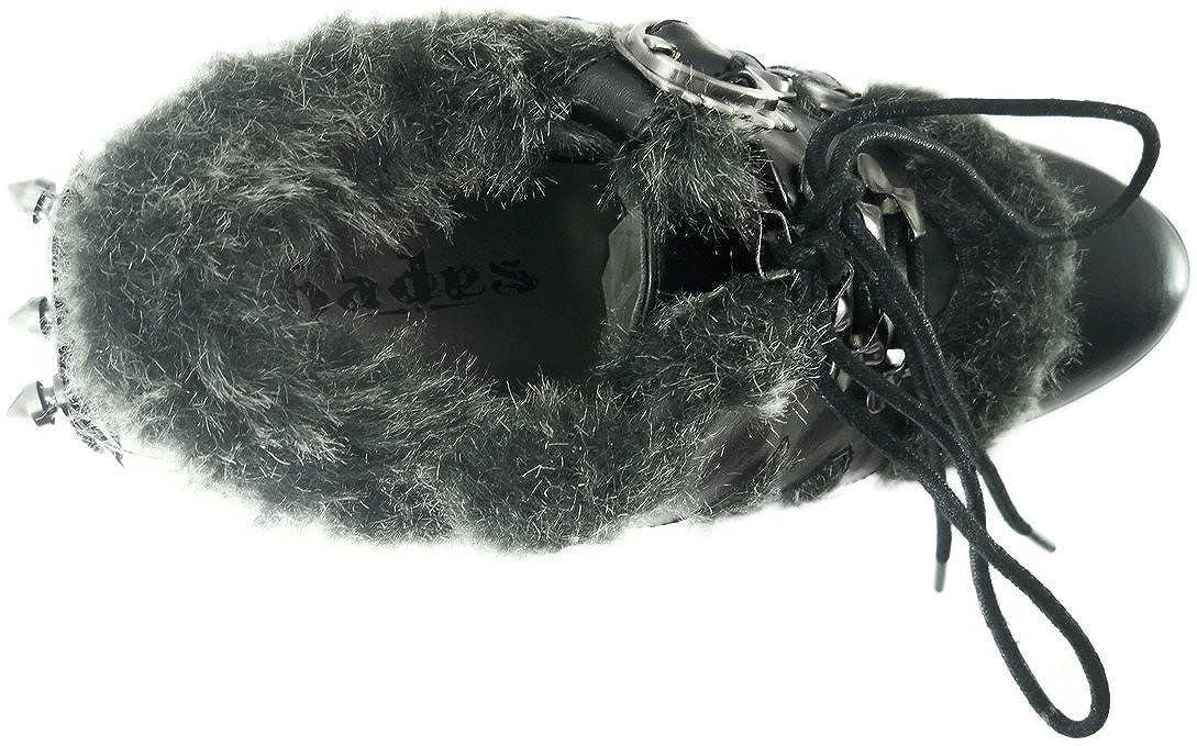 Morgana zwarte enkellaars met steampunk hak en nep bont mat