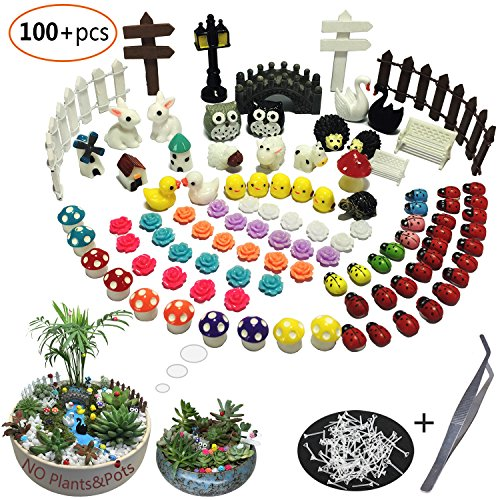 - Aubasic 100 Pieces Miniature Garden Ornament Kit Set for DIY Fairy Garden Mini Bonsai miniascape,Potted Landscaping, Window Display,Dollhouse and Plant Decoration