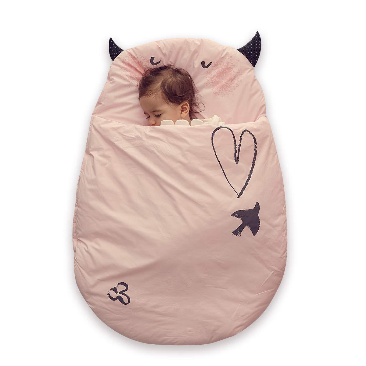 Bebamour Anti Kick Baby Sleeping Bag Safe Nights Cotton Baby Sleep Bag 2.5 Tog 0-18 Months Cute Infant Boy Girls Sleeping Sack Baby Wrap Blanket (Pink) UKBD8631