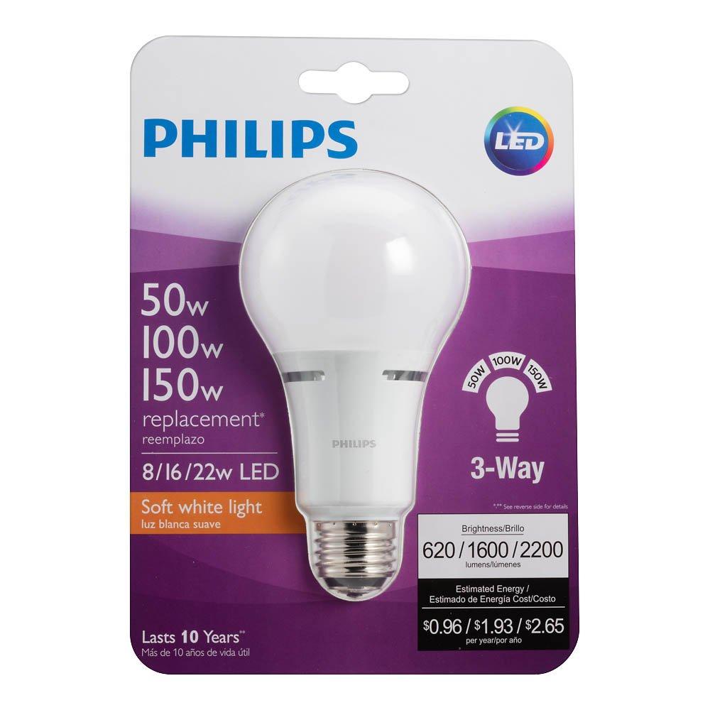 100-60-40-Watt Equivalent 1-Pack Philips LED 3-Way A21 Frosted Light Bulb: 1600-800-450-Lumen 18-8-5-Watt 2700-Kelvin Warm White E26D Base