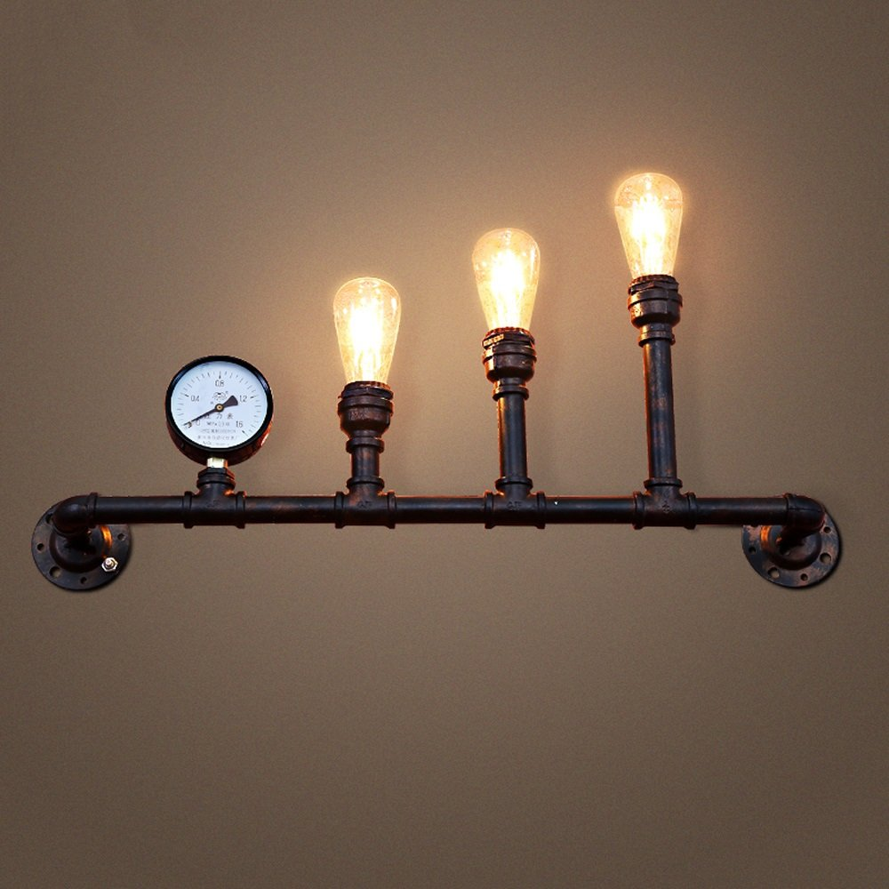 Retro wall lamp Water pipe wall lamp Iron wall lamp E27 bulb3 Nordic Industrial style Bedroom Bar Basement Garage balcony corridor Height 31.5 Inch 31w-40w (rust colored)