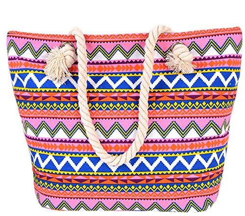 Pulama Womens Large Beach Tote Canvas Shoulder Bag Wave Striped Anchor Summer Handbag Top Handle Bag Straw Beach Bag Multi Red (Red Snack Print)