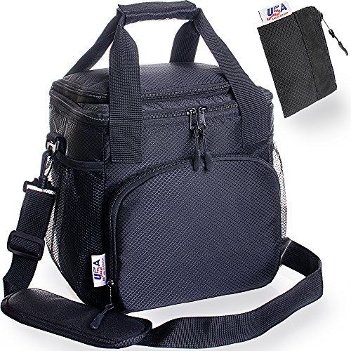 Insulated Lunch Bag For Men - USA Sales Group Lunch Bag Nylon Soft Cooler Bag For Work, Women Adults, Stiff Bottom, Best 2 Way Zipper Closures, Adjustable Shoulder Strap – Bonus Key Case & e-Book