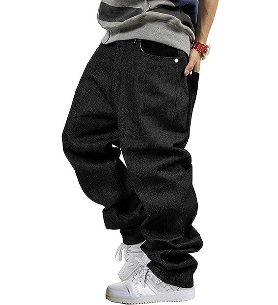 Pantaloni Denim da Uomo Streetwear Pantaloni Denim Hip Hop Moda Vintage  Classiche Pantaloni Larghi Pantaloni Jeans Ragazzi  Amazon.it  Abbigliamento 1abc3c07d0c9
