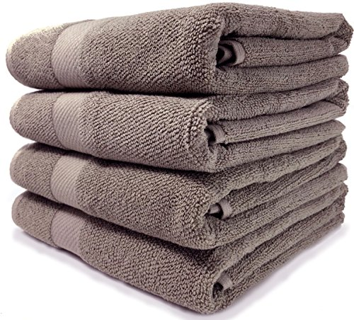 Maura Premium 100% Cotton 27x54 Ultra Absorbent Quick Dry 4 Pack Soft Terry Bath Towels Set for Bathroom, Hotel and Spa Quality. (Bath Towel - Set of 4, Taupe)
