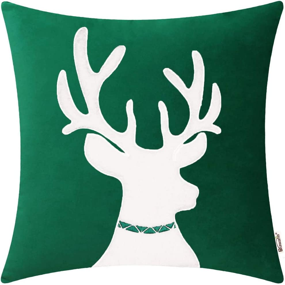 Solid Velvet Applique Reindeer Christmas Pillow Cover