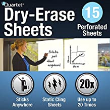 Quartet 3413885563 Dry Erase Cling Sheets, Perforated Sheets 31.5-Inch Tall by 24-Inch Wide, 15 Sheets Per Box