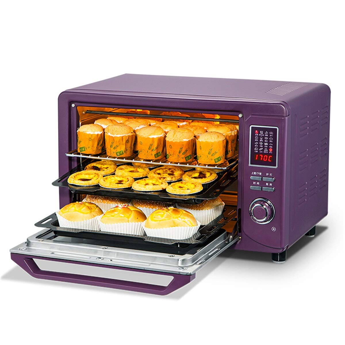 ミニオーブン  B07R1LQWBY ミニオーブン30 L家庭用オーブンベーキング多機能電子オーブンスマートコンピュータオーブン -オーブントースター KDJHP -