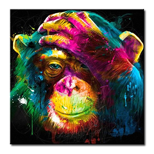 FLY SPRAY 1 Panel Framed 100% Hand Painted Oil Paintings Canvas Wall Art Colorful Chimpanzee Monkey Thinking Modern Abstract Artwork Painting for Living Room Bedroom Office Home Decoration ()