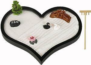 Desktop Mini Love Zen Garden - Office Desk Meditation Love Hear Sand Garden with Zen Stone , Rake , Miniature Swan, Bridge, Lotus