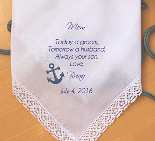 Wedding Hankerchief Wedding Gift For Groom from Mom Mother to Son handkerchief Today a GROOM  always my SON
