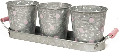 Modern Farmhouse Flower Pot Planter Set – Vintage Galvanized Steel Decor Perfect for Herbs and Succulents –...