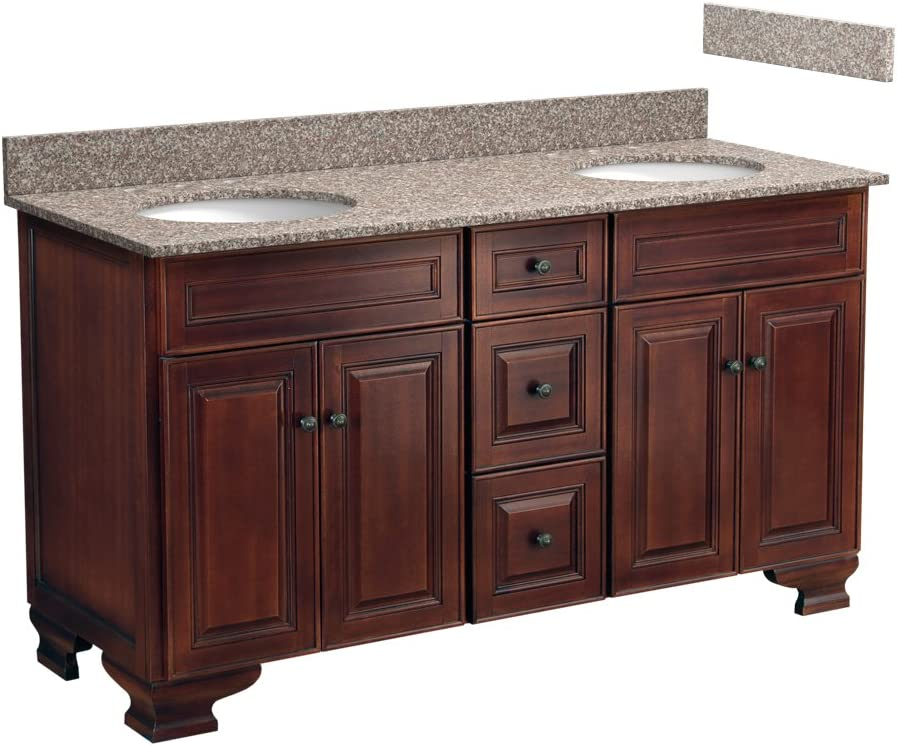 Foremost Hanat6021d 8b 60 Inch Hawthorne Bathroom Vanity Combo With Burlywood Granite Top 2 Pre Attached Undermount Sink And 8 Inch Centers Dark Walnut Amazon Com