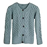 Women's Button Down Sweater - Aileen Aran Cardigan - Mist - Small