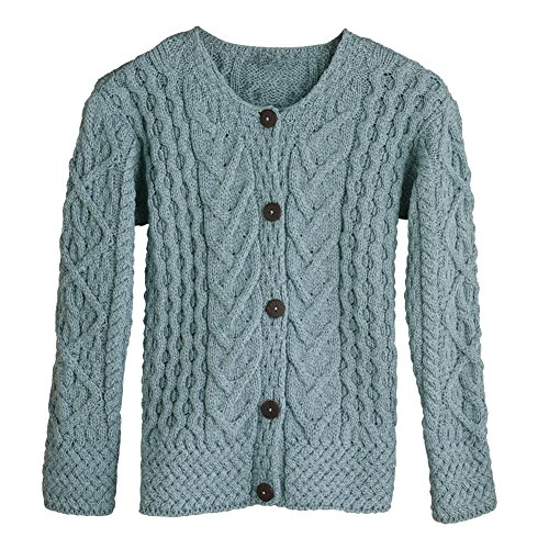 Women's Button Down Sweater - Aileen Aran Cardigan - Mist - XXL by Aran Woollen Mills