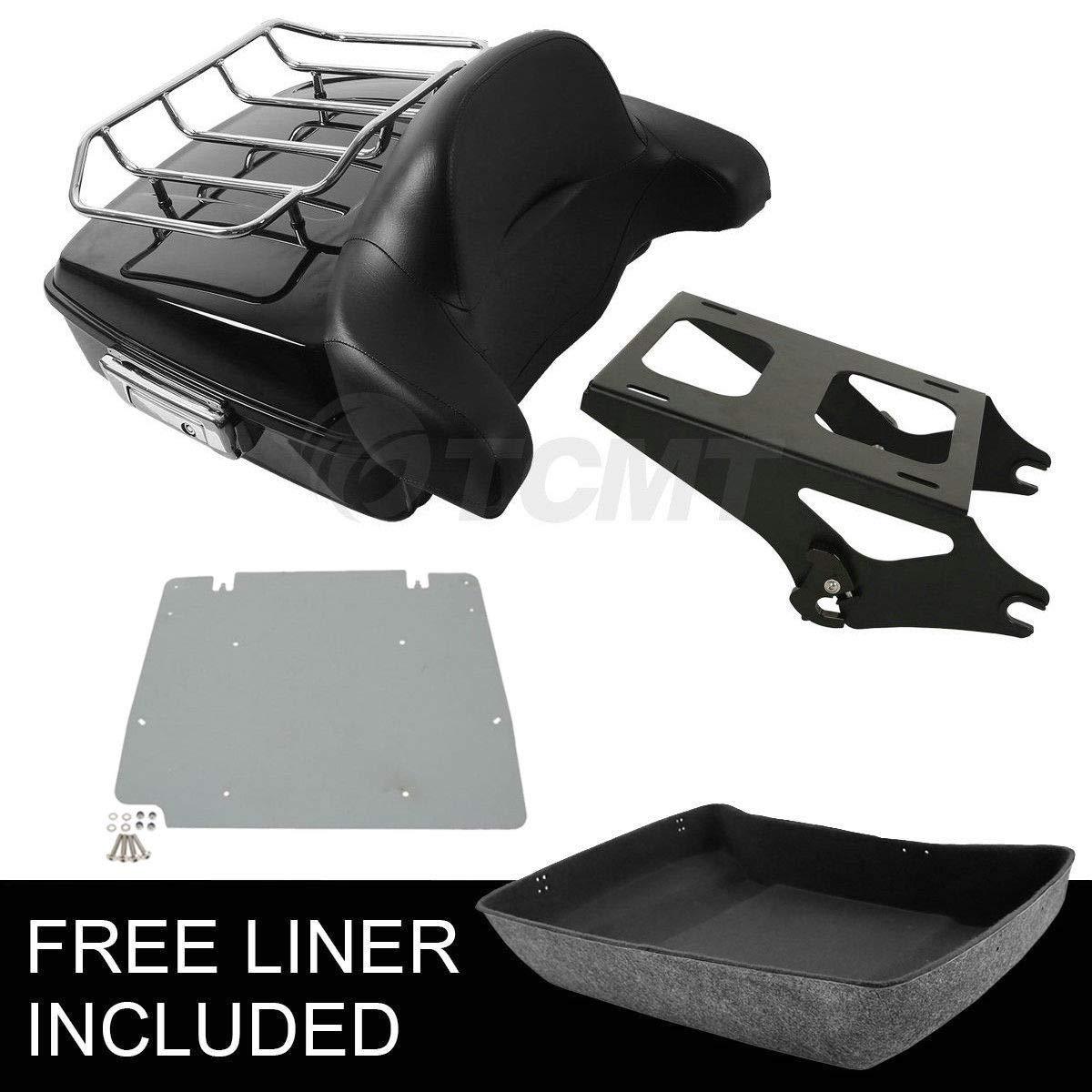 TCMT Tour Pack Trunk Backrest+Luggage Rack Fits For Harley Touring FLHR FLHT FLHX 2014-2020(Style J Black) by TCMT