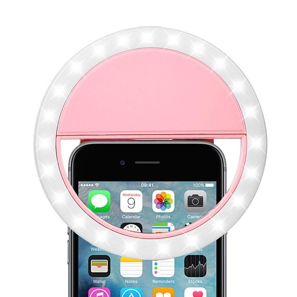 Dreamwireless The Ring Light Rechargable Selfie Led Camera Light w/Adjustable Brightness, Blue