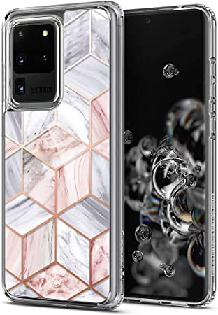 Cyrill Von Spigen Cecile Crystal Kompatibel Mit Samsung Galaxy S20 Ultra Hülle 2020 6 9 Zoll 9h Hartglas Mit Weichem Tpu Rosa Marmor Elektronik