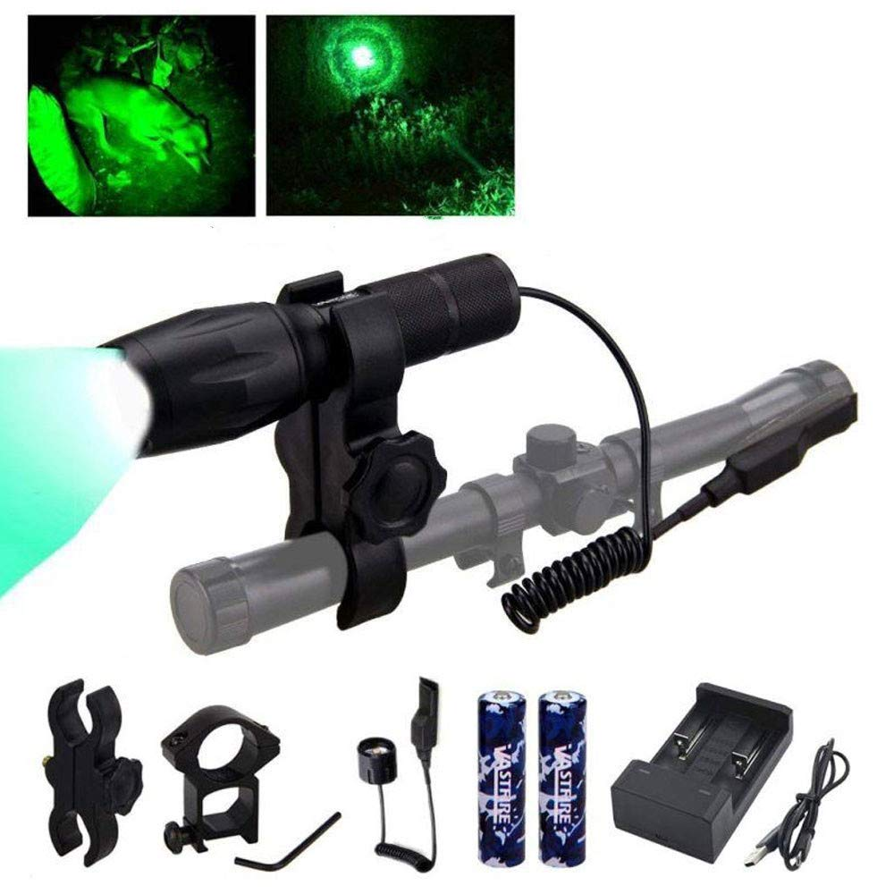 VASTFIRE 350 Yard Green Hunting Light Zoomable Flashlight Hog Predator Lights with Pressure Switch Picatinny Rail Mount 1 Inch to 30mm Scope Mount Gift Carrying Case
