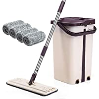 BePrincess Squeeze Flat Mop, 1 Bucket, Wet Dry Floor Cleaning Hand Free, 4 Reusable Mop Pads, Stainless Steel Handle