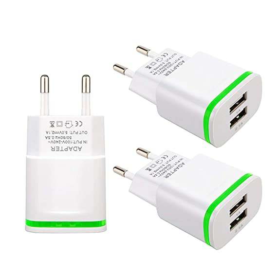 European Plug Adapter, USINFLY Universal Europe Travel Charger 3-Pack 2.1A/5V Europe Dual USB Wall Charger Block for iPhone X 8/7/6/6S Plus, iPad, ...