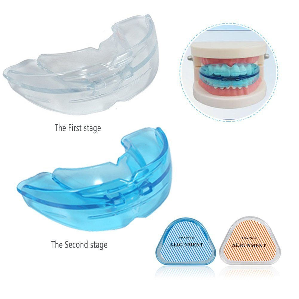 Teeth Braces Mouthguard, 2-in1 Tooth Orthodontic Appliance Teeth Retainer Two-stage Adjuvant Dental Care Tool Tooth Braces Trainer, Anit Snoring Device (Blue Soft+Transparent Hard) ZJchao