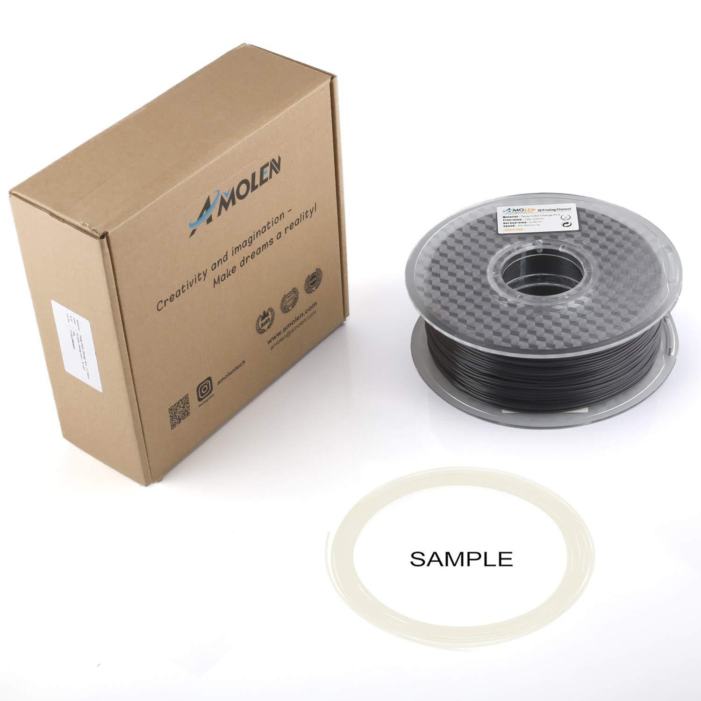 Azul a Blanco 1KG,+//- 0.03mm incluye Cambio de color de temperatura AMOLEN Filamento PLA Impresora 3D 1.75mm Cambio de color de temperatura Rosa a Blanco Filamento Muestra.