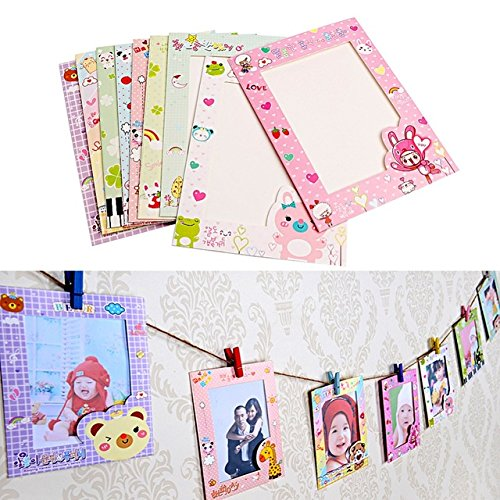 Price comparison product image Mini Hanging Picture Frames - Cute Pictures For Walls - 9 pcs / set 6 Inch Wall Hanging Cute Animal Paper Photo Frame for Pictures - Cute Picture Frames - Colorful Picture Frame Set
