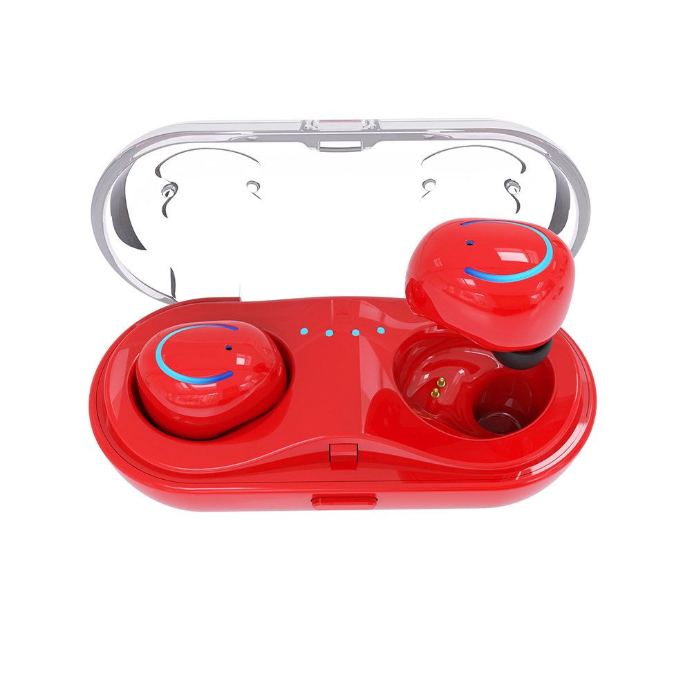 Bluetooth Wireless Headset, Invisible Mini Earbud Twins Bluetooth Headphone V4.2 with Mic and Charging Case 6-Hr Playing Time for Business/Office/Driving-Compatible with iPhone Android (Red)